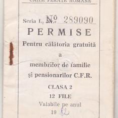 bnk  div CFR - Permise pentru calatorie gratuita - cls 2 - 1982