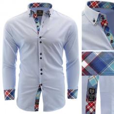 Camasa pentru barbati bleu slim fit elastica casual cu guler alexandria