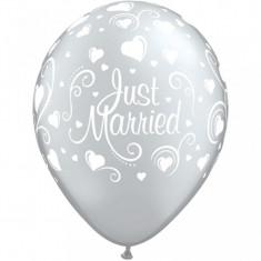 Baloane nunta argintii Just Married 28 cm set 5 buc