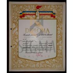 """DIPLOMA """" CINTAREA ROMANIEI"""" LAUREAT, SCRIITORULUIRADU TIC, 1989"""