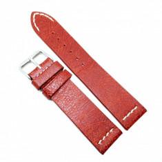 Curea pentru ceas Rosie Vintage din piele naturala- 22mm - C3249