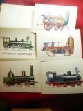 Set 11 ilustrate Locomotive vechi II -Piese de Autor , DDR