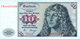 GERMANIA RFG █ bancnota █ 10 Deutsche Mark █ 1980 █ P-31d █ UNC █ necirculata