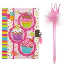 Set jurnal cu lacatel si pix cupcakes