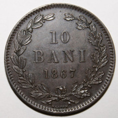 OKAZIE !!! IEFTIN !!! 10 BANI 1867 HEATON . PIESA DE COLECTIE ., Cupru (arama)