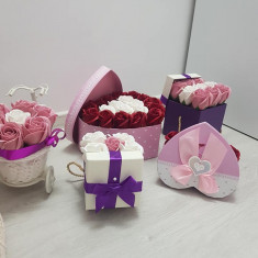 Flori din sapun, mărturii, cutii personalizate, 100% handmade
