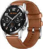 Smartwatch Huawei Watch GT 2, Procesor Kirin A1, Display 3D AMOLED HD 1.39inch, 32MB RAM, 4GB Flash, Bluetooth, GPS, Carcasa Otel, Bratara Piele 46mm,