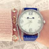 Ceas dama Matteo Ferrari albastru inchis cu cadran alb si curea din piele ECO