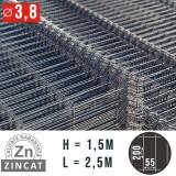 Cumpara ieftin Panou gard bordurat zincat 1500 x 2500 mm, diametru 3,8 mm