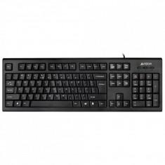 Tastatura A4Tech KR85, Wired, USB, Comfort Round, 104 Taste Inscriptionate Laser, Black