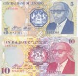 Bancnota Lesotho 5 si 10 Maloti 1989/90 - P10/11 UNC ( set x2 )
