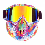 Masca protectie fata plastic dur + ochelari ski, lentila multicolora, MCMFD01