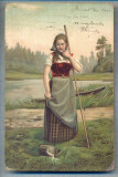 AX 495 CP VECHE-TANARA IN TINUTA DE EPOCA -1903-DOBRII-VARNA -BULGARIA, Circulata, Printata