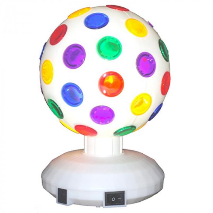 Glob disco, 20 cm, rotativ, alimentare baterii, alb