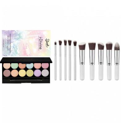 Set Machiaj Profesional cu Paleta farduri SLEEK MakeUP i Divine Wonderland si 10 Pensule Lilyz Snow White foto