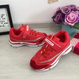 Adidasi cu scai rosii cu sclipici argintiu usori pt fete 33