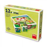 Cumpara ieftin Puzzle din lemn, cuburi, La ferma, 12 buc, 6 imagini posibile