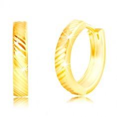 Cercei din aur galben de 14 K - cercuri subțiri strălucitoare cu linii diagonale