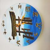 """Ceas de perete pictat """"Poarta japoneza"""" - handmade - artizanat - cadou deosebit"""