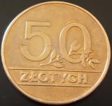 Moneda 50 ZLOTI / ZLOTYCH - POLONIA, anul 1990   *cod 598, Europa