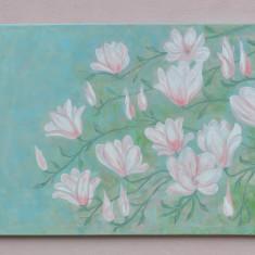 TABLOU FLORI DE MAGNOLIE PICTURA IN ULEI PE PANZA 50/70 cm, Altul