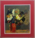 Natura statica cu flori// ulei pe hartie