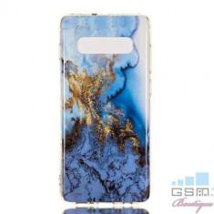 Husa Samsung Galaxy S10 Plus TPU Marble Pattern Albastra