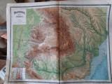 """""""România harta fizica"""" din atlasul C. Teodorescu 1924"""