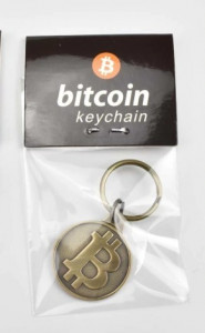 Breloc pentru chei, model Bitcoin, 25 mm - Alama