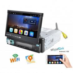 Navigatie Android ecran retractabil, Radio RDS, mp3/mp5 1Din player auto,7 inch,Magazin Play, Wi Fi, Bluetooth