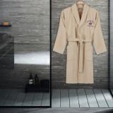 Cumpara ieftin Halat de baie unisex, din bumbac, Beverly Hills Polo Club 700 Crem, M / L