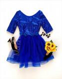 Rochie ocazie ieftina albastra cu fusta din tulle si corset paietat