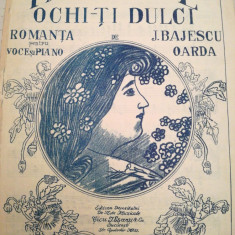 Inchide ochi-ti dulci, romanta pentru voce si piano de J. Bajescu Oarda