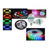 Cumpara ieftin Banda LED, cu telecomanda + Bec rotativ disco