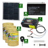 Pachet gard electric cu Panou solar 2,5J putere și 3000m Fir 160Kg