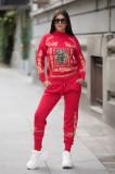Trening dama din tricot rosu cu bluza pe gat si model Tablou