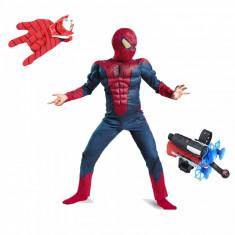 Set costum Spiderman cu muschi Infinity War lansatore cu ventuze si manusa cu discuri S 95 110 CM 3 5 ani