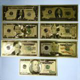 Lot 7 bancnote dolari SUA placate cu aur 24k Gold Set colectie