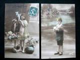 Franta 2 carti postale(2) vechi tip felicitare Paste