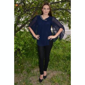 Bluza eleganta cu voal si margele aplicate, culoare bleumarin