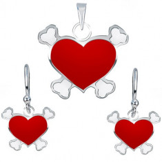 Set din argint cercei şi pandantiv - inimă roşie pirat