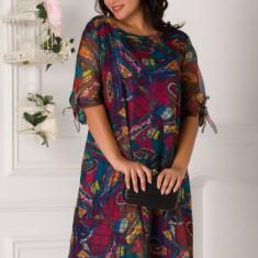 Rochie Eliana cu imprimeu multicolor si carouri