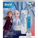 Periuta de dinti electrica Oral-B Vitality Frozen pentru copii 7600 oscilatii/min, Curatare 2D, 2 programe, 1 capat, 4 stickere incluse, Trusa de cala