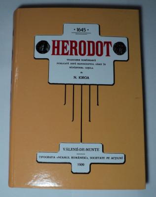 1645 Herodot, publicata de Nicolae Iorga, 560 pagini, ARE 6 pagini netiparite foto