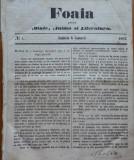 Foaia pentru minte , inima si literatura , nr. 1 , 1862 , Brasov , I. Muresanu