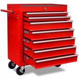 Cumpara ieftin Cărucior pentru unelte de atelier cu șapte sertare, roșu