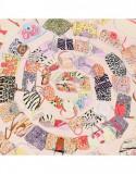 Batic dama matase naturala Pami animal print bags, 90x90 cm, corai
