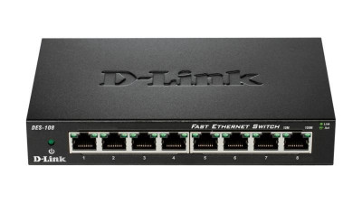 Switch d-link des-108 8 porturi 10/100mbps desktop fara management metal negru foto