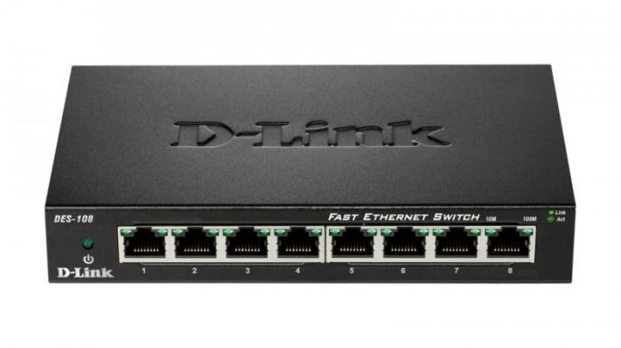 Switch d-link des-108 8 porturi 10/100mbps desktop fara management metal negru