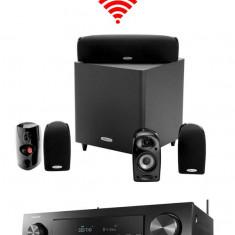 Sistem complet Polk Audio Home Cinema 5.1 cu Surround Wireless cu boxe Polk Audio TL600 si receiver Denon AVRS650H
